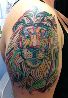 Abstract Colorful Lion Tattoo by Lacey